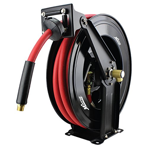 "Milton 2780-50D - Steel Dual Arm Auto-Retractable Air Hose Reel, 1/2"" x 50 ft. Rubber Hose - 300 Max PSI"
