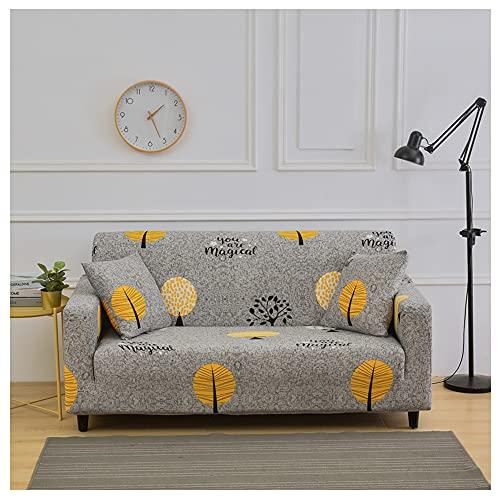 Hggzeg Funda de sofá, tela elástica de alta elasticidad, funda de sofá de 1 2 y 3 plazas, funda de sofá impresa, funda protectora de muebles, lavable a máquina (2 plazas, hoja)