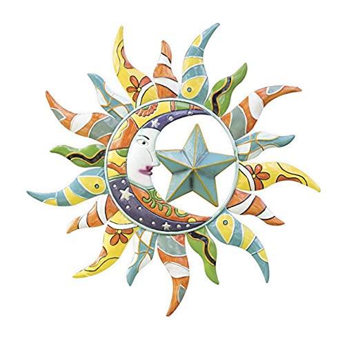 Pangyan Sun Moon Star - Estatua decorativa para pared (metal, diseño de helio, para puerta del hogar)