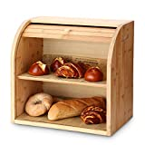 G.a HOMEFAVOR 2-Layer Bamboo <span class='highlight'>Bread</span> Bin with Removable Layer, Self Assembly