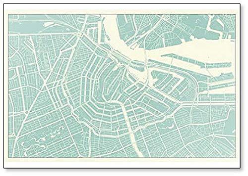 Amsterdam Kaart in Vintage Stijl Illustratie Koelkast Magneet