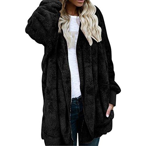 LAEMILIA Damen Jacke in Felloptik Mantel mit Kapuzen Lang Cardigan Pelz Fell Hooded Warm Elegant Wintermantel Kunstpelz Weich Coat Jack