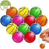 Gejoy 24 Pièces Basketball Balles Rebondissantes Balles Anti-Stress Balles en Caoutchouc Amusantes Ballons de Handball Faveurs d'Activités de Fête Extérieur et Intérieur