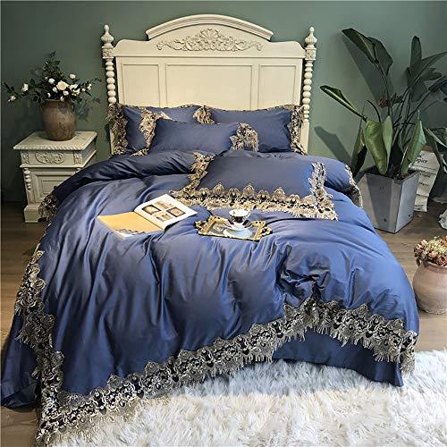 Bettwäsche Set Baumwolle Blau, Bettwäsche-Sets Bettbezug Hand Stickerei Super Weiche Einfarbig Baumwolle 100% 4teilig, 1 Bettbezug 220X240cm, 1 Flache Blatt 245X270cm, 2 Kissenbezüge