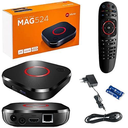 MAG 524 Original Infomir IPTV Set Top Box 4K UHD 2160p 60FPS Multimedia Player Internet TV IPTV Receiver Smart TV /HEVC H.256 Unterstützung - ARM Cortex-A53 (HDMI 2.1,Ethernet,USB 3.0)+HDMI Kabel