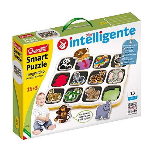 Quercetti-Quercetti-0232 Smart Puzzle Jungle & Savana Prima Infanzia, Gioco Magnetico con Animali, Multicolore, 0232