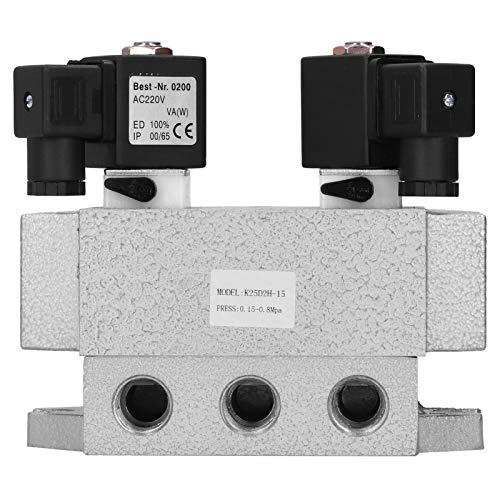 Válvula solenoide neumática G1 / 2in, controlador eléctrico de 2 posiciones y 5 vías, aleación de aluminio K25D2H-15, válvula solenoide de 6 Hz(AC220V)
