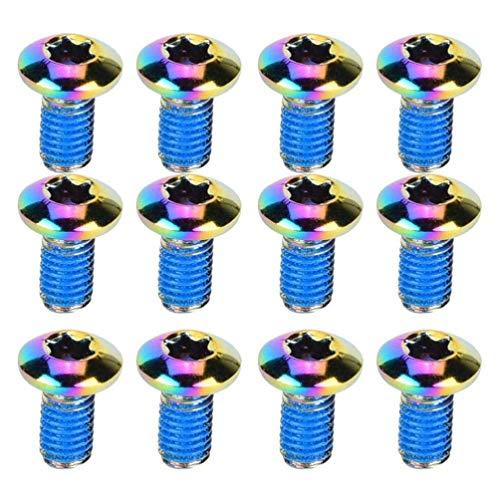 CLISPEED 12-Teilige Fahrrad-Scheibenbremsschrauben Titan-Ti-Schrauben für MTB-Scheibenbremsscheiben Fahrradbremsscheibe Titan-Torx M5x10mm (Bunt)