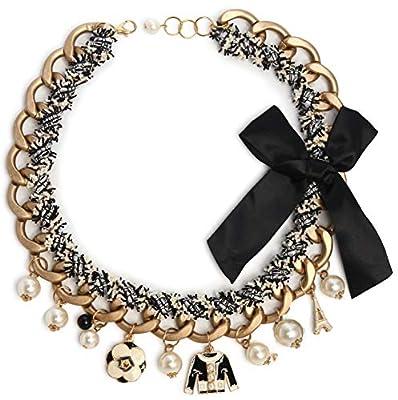 Fashion Jewelry Imitation Pearl and Black Bowknot Celebrity Bridal Chocker Necklace