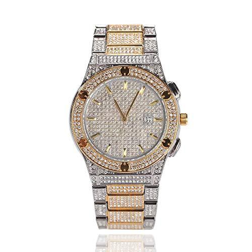 Diamant Herrenuhr im Hip-Hop-Stil 10 m wasserdichte Uhr Armbanduhr mit großem Zifferblatt Diamantuhr mit Geschenkfunktion mit Kalenderfunktion