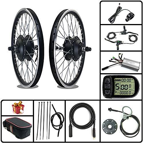 Kit Bici elettrica RICETOO 36V / 48V 500W Motore mozzo brushless con Ruota a Raggi Anteriori 16'20' 24'26' 27.5'28' 700C Kit di conversione Bici elettrica con KT-LCD5 (36V 500W 20inch)