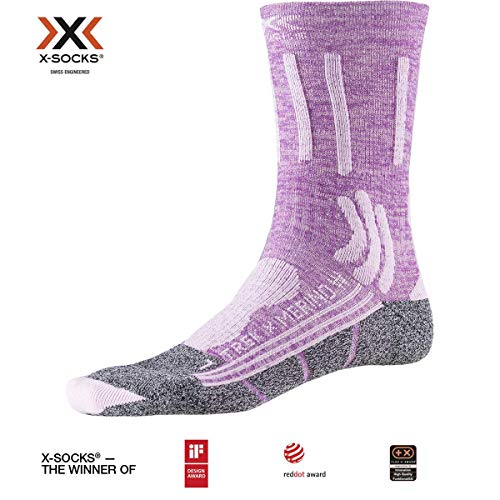 X-SOCKS Trek X Merino Women Chaussette Femme, Magnolia Purple Mélange/Dolomite Grey, FR : M (Taille Fabricant : 37-38)