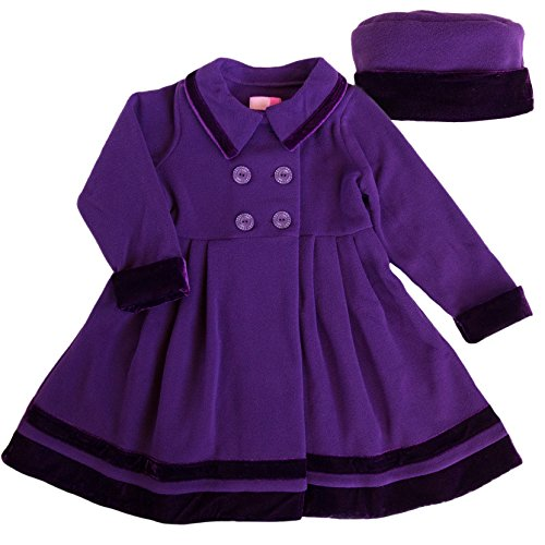 Good Lad Toddler Thru 4/6X Girls Double Breasted Fleece Dress Coat with Velvet Trim and Matching Hat (6X, Purple)