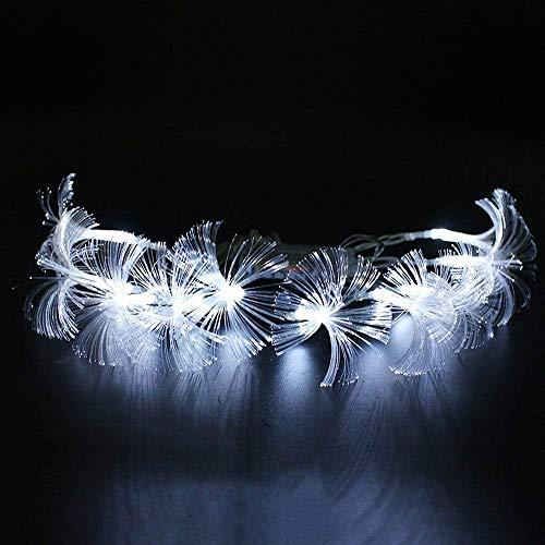 Lichterkette, Glasfaser, 2,5 m, 10 LED-Lichterketten, batteriebetrieben (2 x AA), 2 Stück weiß