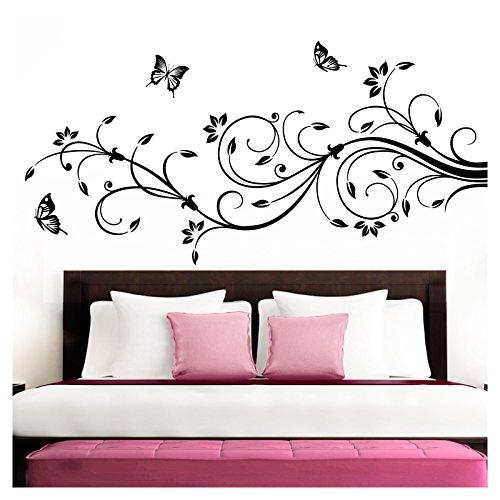 Grandora Wandtattoo XXL Blumenranken Schmetterlinge Blumen I schwarz (BxH) 90 x 39 cm I Schlafzimmer Liebe Flur Wohnzimmer modern Aufkleber Wandaufkleber W1073