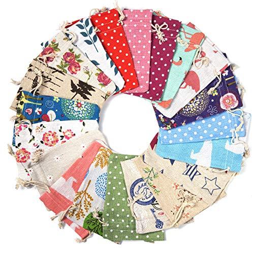 Maojuee 20 Piezas Bolsa de Cordón de Algodón y Lino Para Guardar Regalos Bolsa de lino de algodón Impresión Floral Bolsas de Arpillera 10×14 CM (B)
