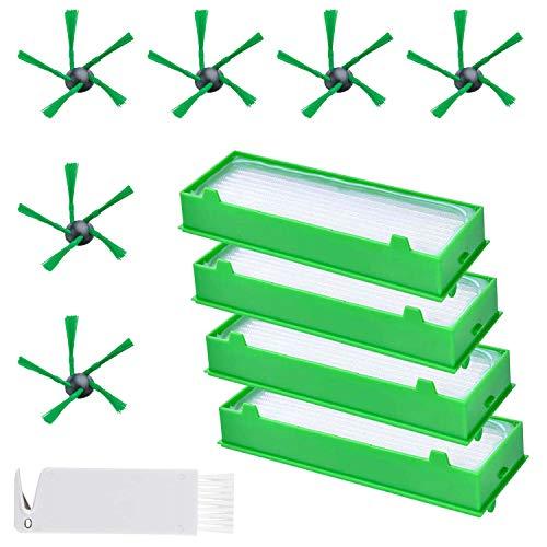 ABClife 11 Stück Ersatzteile für Vorwerk Kobold VR200 VR300 Saugroboter Zubehör- Ersatzteile 4 Hepafilter Allergiefilter und 6 Seitenbürsten und 1 Stück Kleine Bürste
