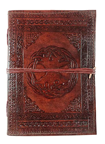 Kooly Zen – Cuaderno de diario, libro, álbumes, libro de invitados, cuaderno de dibujo, scrapbook, trepador, piel auténtica, árbol de la vida, vintage, 18 cm x 25 cm, 240 páginas, papel premium