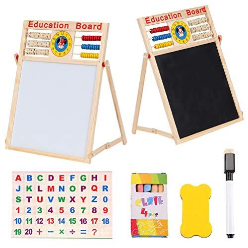 Sahgsa Blanca Pizarra Infantil Caballete Juguetes Montessori Puzzle, Madera con Tizas Rotuladores Borrador Letras Regalo para Niños Niñas 3 4 5 6 Años