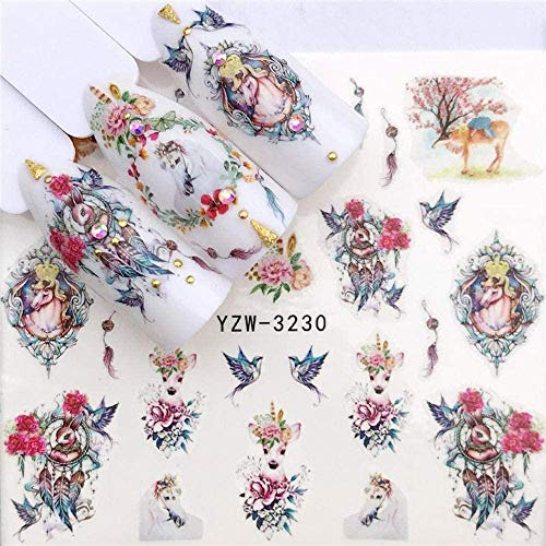 SRTYH Autocollant d'ongle Nail Art Nail Sticker Slider Tattoo Flower Water Decal Bonhomme de neige Full Wraps Designs Decals Make Nails More Beautiful HA