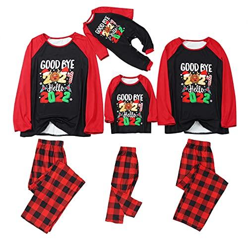 Christmas Pajamas for Family Matching Sets Cute Goodbye 2021 Xmas Print Holiday Long Sleeve Sleepwear Loungewear Outfits