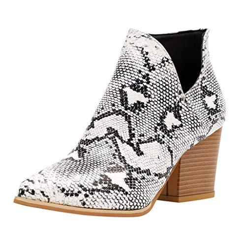 Dorical Stiefeletten mit Absatz Ankle Boots für Damen/Frauen Chelsea Winter Elegant Kurzschaft Leopard Kunstleder...