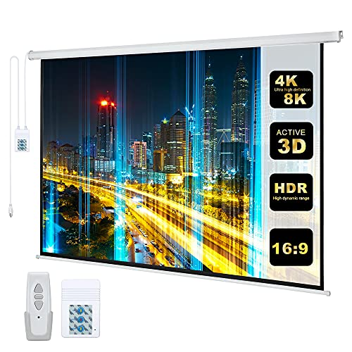 110' Motorized Projector Screen Electric Diagonal Automatic Projection 16:9 HD Movies Screen for...