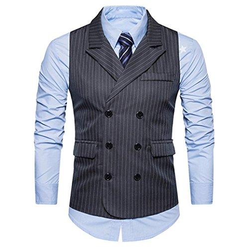 VENMO Männer Double Breasted Retro Hardshelljacke Slim Fit V-Neck Double Breasted Sleeveless Suit Blazer Waistcoat Mäntel Elegant Casual Lang Trenchcoat Coat Formal Tweed Check Weste (Gray, M)