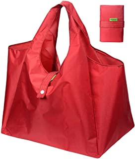 DZTSMART Reusable Folding Shopping Bag, Eco-friendly Polyester Foldable Grocery Tote or Waterproof Lunch Bag, Heavy Duty W...