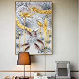 HHLSS Poster Bild 40x50cm ohne Rahmen Abstrakt Gold Lotus