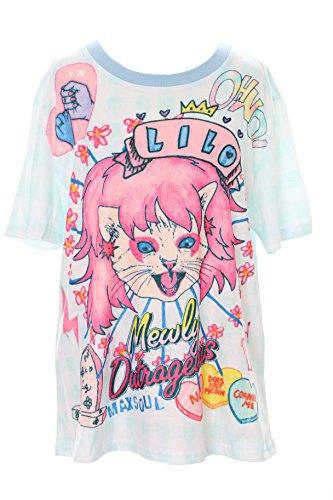 Kawaii-Story T-56 lichtblauw rok rol Queen Cat Kat Karo T-shirt pastel Goth Lolita Japan Harajuku