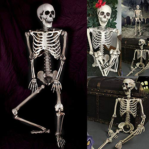 Gizayen Halloween Human Skeleton 90cm Scary Bones Props Hanging Haunted House Decoration, Halloween Decoration Human Skull, Skeleton Gothic Halloween Gifts Decor