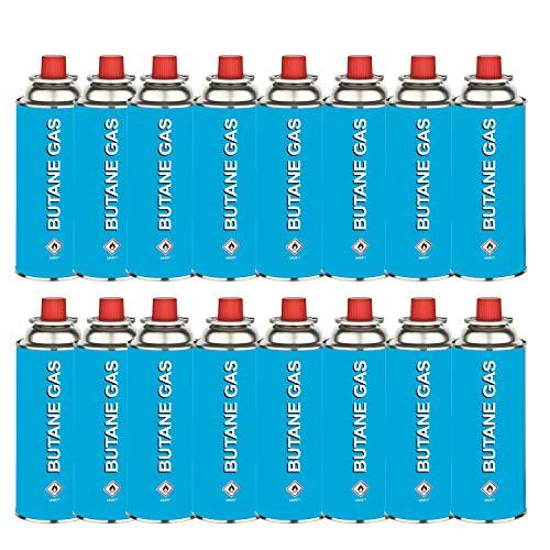 HEIMWERT Gaskartuschen Unkrautbrenner mit Piezo-Zündung | Arbeitstemperatur 1300°C | Abflammgerät für Butangas Ventilkartuschen | System MSF-1A (Nachfüllpack 16 Gaskartuschen á 227g)