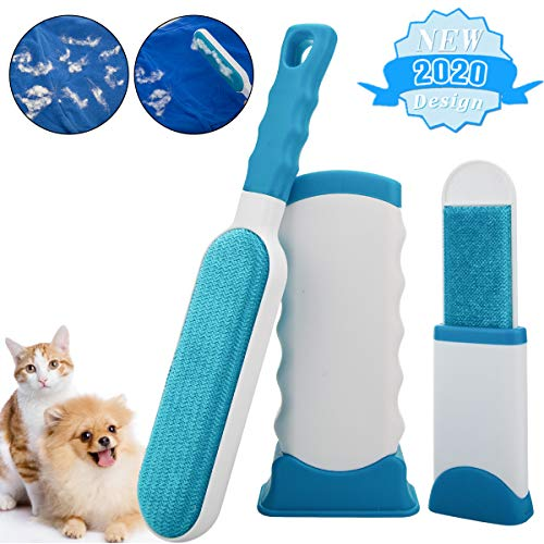 Pet Hair Remover,Doubled-Sized Cat Dog Hair Remover for Furniture,Clothing,Best Pet Hair Lint Brush Lint Roller for Pet Hair Fur Remover with Self-Cleaning Base,2 in 1 Animal Hair Removal Tool,Blue