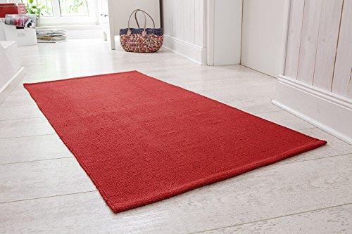 andiamo Handwebteppich Milo, Läufer, 100% Baumwolle, pflegeleicht & waschbar, einfarbig, Größe:60 x 120 cm, Farbe:Rot