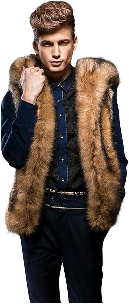 F_Gotal Men's Soft Fluffy Luxury Faux Fur Hoodie Coats Vest Waistcoat Sleeveless Hooded Coat Jacket Thick Warm Winter