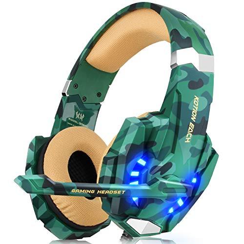 Gaming Headset für PS4 Xbox One PC, DIZA100 Gaming Kopfhörer mit Mikrofon, LED Light Bass Surround,Aluminiumgehäuse für Computer Laptop Mac Nintendo Switch Spiele (Camouflage)