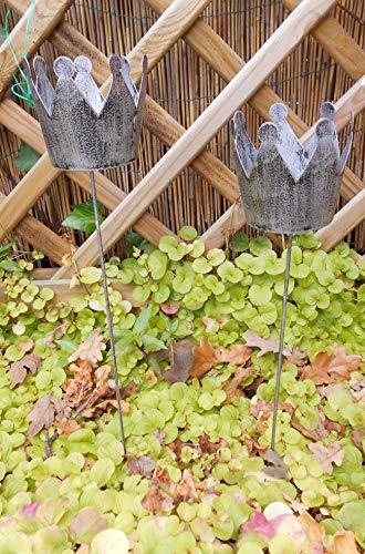 Deko-Kronen am Stab Gartenstab Windlicht Gartenstecker Eisen grau