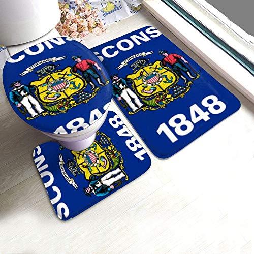 kglkb Wisconsin State Flag 3-Piece Non-Slip Bath Mat Set + Contour + Toilet Lid Cover The Best Choice for Bathroom Decoration