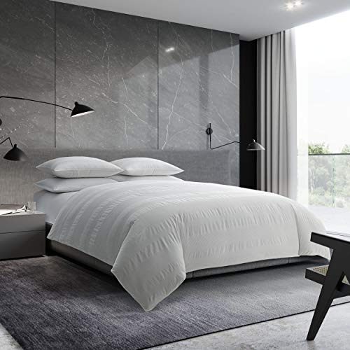 Vera Wang | Waffle Stripe Collection | 100% Cotton Super Soft and Smooth, Cozy and Comfortable 3-Piece Comforter Set, Simple and Modern Style for Bedroom Décor, Queen, White