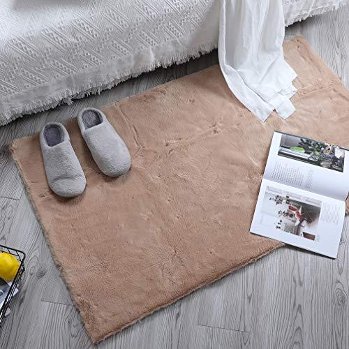 HEQUN Alfombra De Piel De Conejo Artificial,Antideslizante Lujosa Suave Lana Artificial Alfombra para salón Dormitorio baño sofá Silla cojín (marrón, 60x90cm)