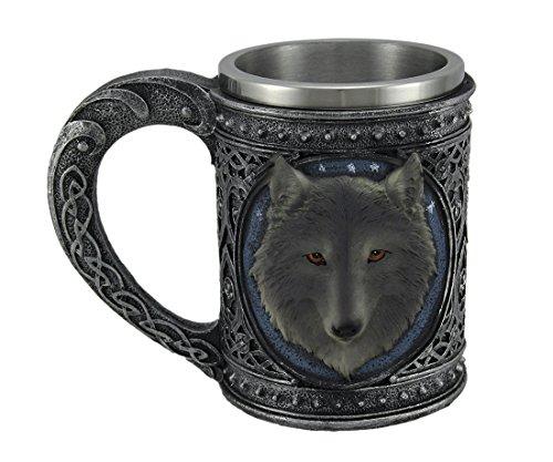 Grey Wolf Head Metallic Tribal Celtic Pewter Finish Mug Stainless Steel Lined LARGE 5.5'