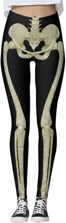 MYSJDDX Women's Halloween Leggings Skeleton Print Soft Workout R