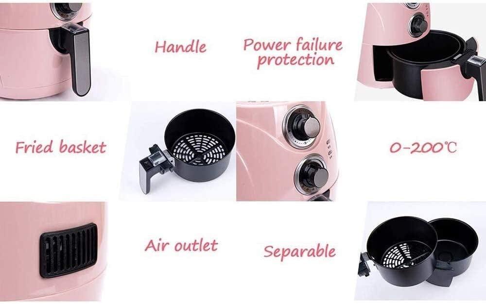 Air Fryer, 2,5 litres d'air chaud électrique Friteuse Four Oilless Cooker avec écran LCD et antiadhésives Pot Friture, Mini Hom DDLS (Color : Pink) Pink