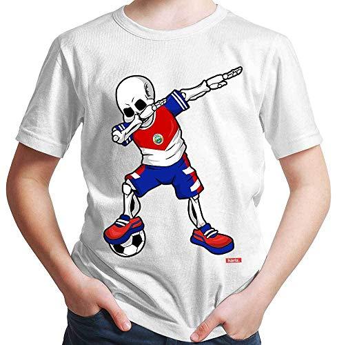 Hariz – Camiseta de fútbol, Dab Skelett Costa Rica, equipación de equipación con tarjetas de regalo Blanco 8 años