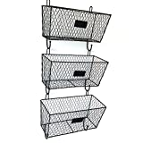 Wall Mounted Wire Hanging Basket, 3 Tier Metal Wall Storage Basket Organizer with Chalkboards, Office Garage Storage Kitchen Fruit Produce Rack, Black