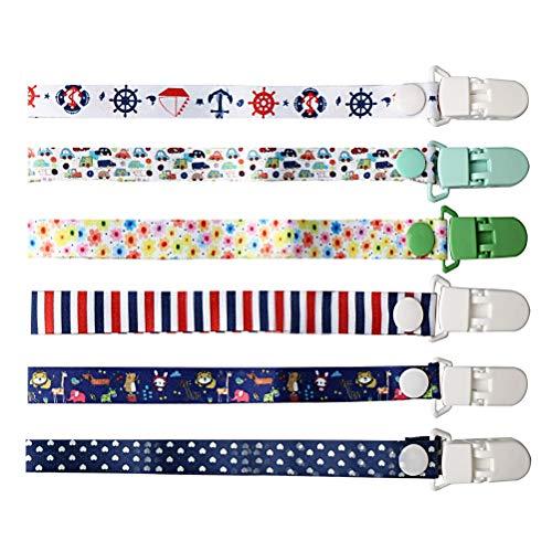 nuoshen 6 Stück Baby Schnullerband, band für schnullerkette Nuckelketten für Schnur Lätzchen mit Clips