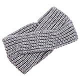 Fletion Cinta de lana para la cabeza, diseño para mujer y niña, temporada otoño invierno, muy cálida gris gris claro talla única