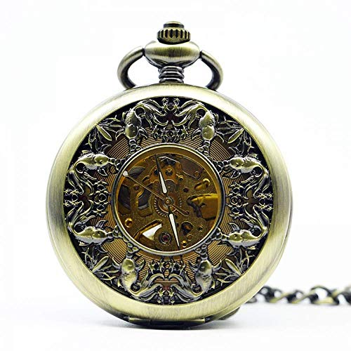 DZNOY Reloj de bolsillo, vintage hueco de bronce mecánico de mano de viento esqueleto reloj hombre mujer regalo con cadena reloj de bolsillo (color bronce)