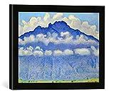 Gerahmtes Bild von Ferdinand Hodler Die Schynige Platte, Landschaft im Berner Oberland, Kunstdruck im hochwertigen handgefertigten Bilder-Rahmen, 40x30 cm, Schwarz matt